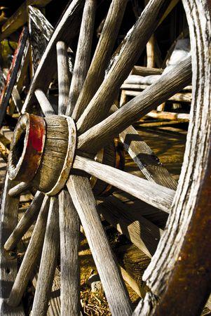 old wood farm wagon: Wheel Stock Photo