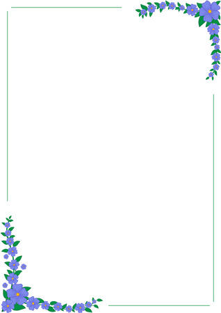 Blue flowers vertical frame. White background. Space for text. Vector illustration