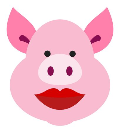 pig face with lipstick vector illustration 向量圖像