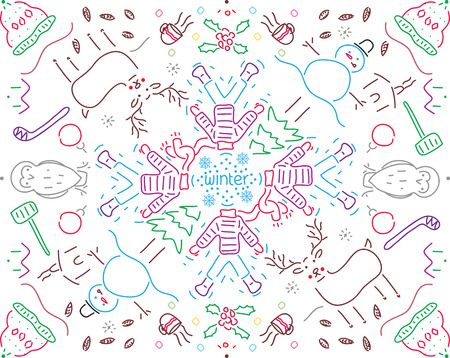 Lineal pattern with winter motifs