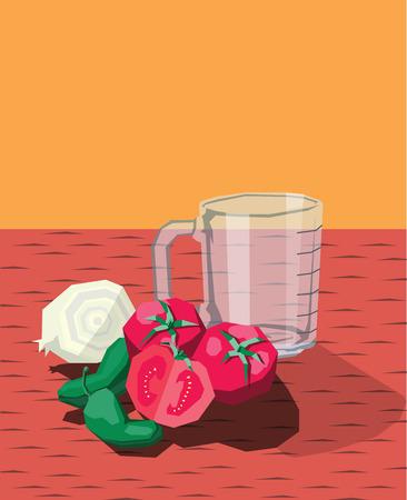allium: Tomatoes onion chilli pepper measure cup composition  Illustration