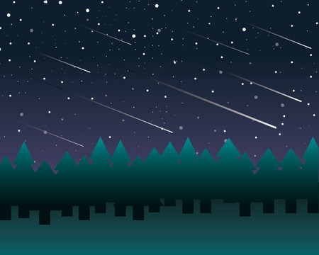 Starry sky and meteor shower in a pine trees fores draw 矢量图像