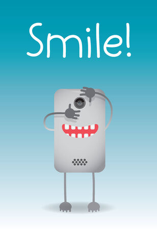 flick: Cell phone taking a picture with the word smile in the background Illustration