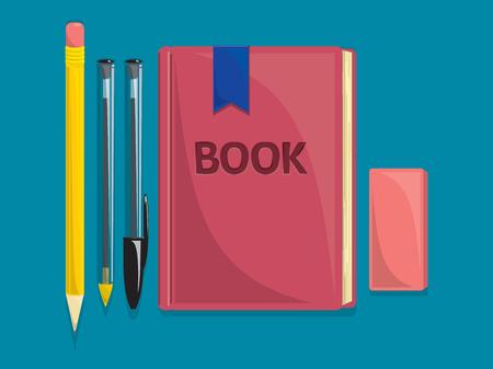 本、鉛筆、ペン、消しゴムを描画します。  イラスト・ベクター素材