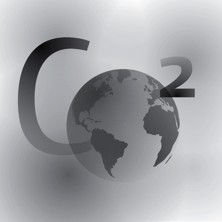Carbon dioxide formula with a world 矢量图像
