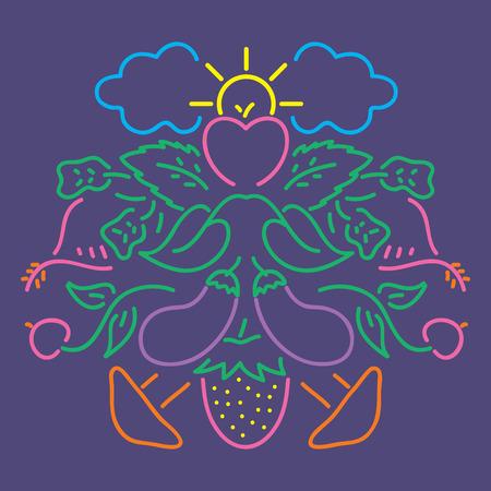 Vegetable color lineal pattern Ilustração