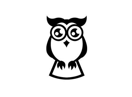 Offene Augen der Eule für Designillustration, weise Vogelikone Vektorgrafik