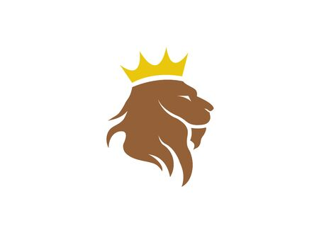 Lion head and crown in the top   design, animal king symbol Illustration