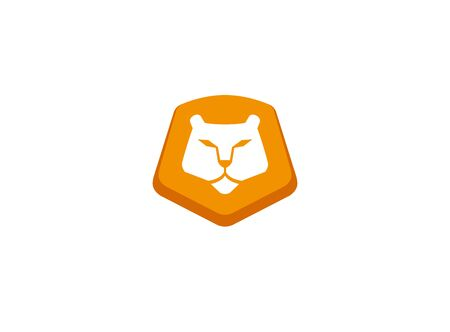 Orange lion head and face for   design illustration, animal king icon
