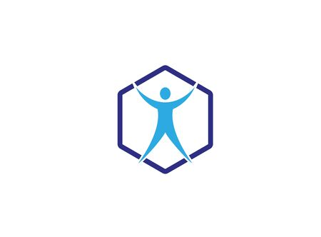 Health body open hands and legs inside an hexagon Illustration