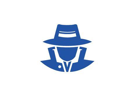 detective spy with hat   vector design illustration, secret job icon