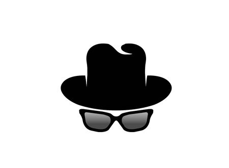 Inspector hat and glasses design illustration, detective secret icon