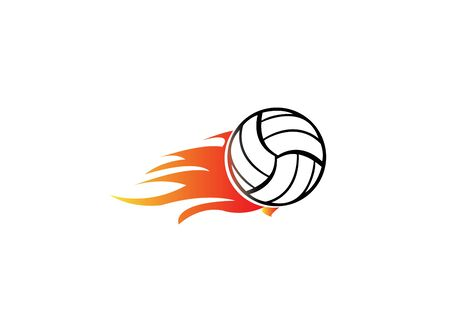Volleyball with fire and flame for design Vektorové ilustrace