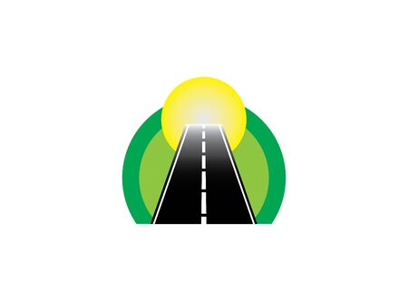 Road in a circle at a green natural way and direction to the sun  design Иллюстрация
