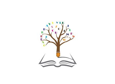 Pencil tree with the alphabet in twigs and write in an open book  design