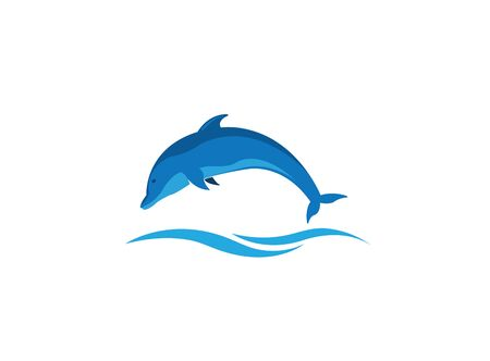 Dolphin smart fish jump in the sea design