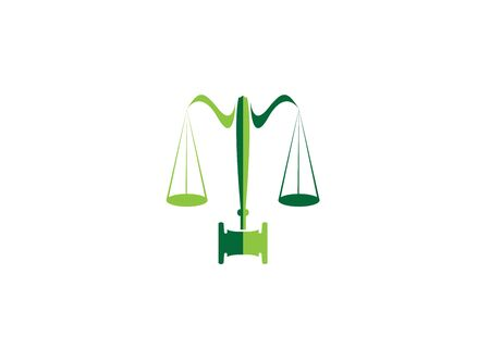 Balance and hammer lawyer or attorney  design Illustration