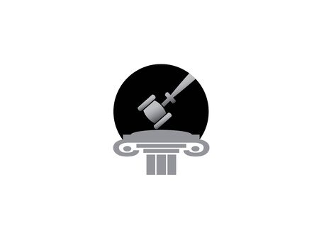 Attorney's hammer in a law justice building   design Illustration
