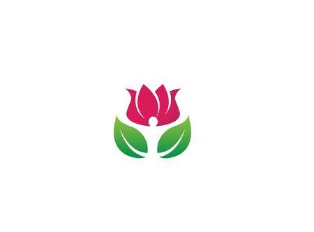 Wellness person hands up with leaves head in flower rose Vector