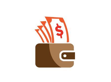 Money and pocket bag for shopping, save money symbol     design illustration