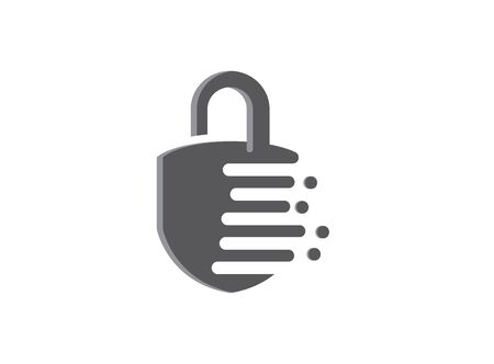 Security Lock with slot and guard Icon design illustrator with effect icon