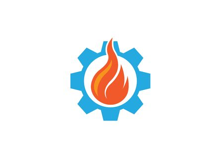 Creative fire in the gear symbol or pinion   design illustration Иллюстрация