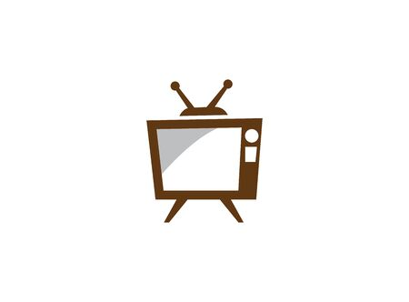 Old classical television with antenna and white screen, antique tv  design illustration