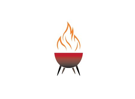 barbecue grills with fire design Illustration