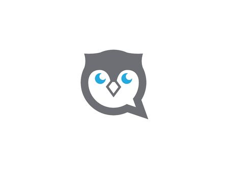 Owl head and face in a chat icon for design illustration on white background