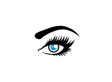 Woman eye Vision with Eyelashes and eyebrow for design illustration on white background