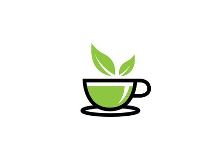 Hot cup of tea in a mug with mint leaves for design illustration on white background
