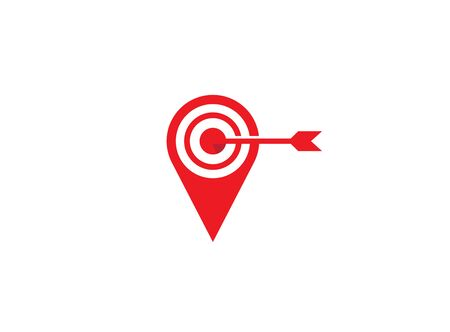 Arrow hits a target dart board in a pin symbol for design on white background
