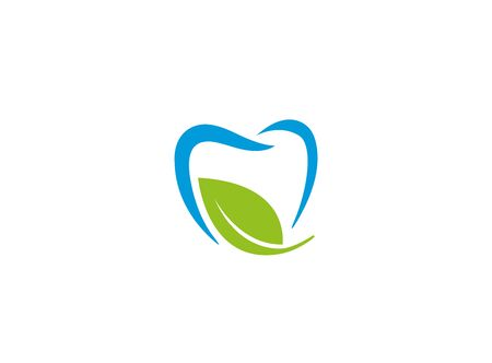 Blue teeth bio care symbol witn leaf for dentist clinic   design illustration on white background