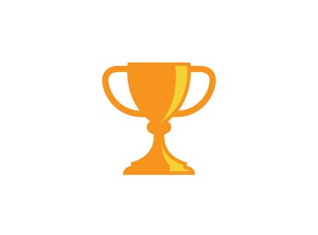 Golden trophy cup for Winner sports championship ceremony label, champion first place prize, a victory for design illustration on white background