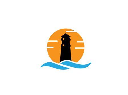 Phare sur l'île au milieu de la mer avec un grand soleil en arrière-plan pour l'illustration de la conception un symbole de coucher de soleil Vecteurs
