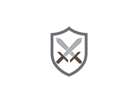 Two swords inside the shield design illustration, security symbol, warrior tools icon