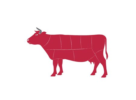 Cow chops cuts beef for design illustration vector on white background