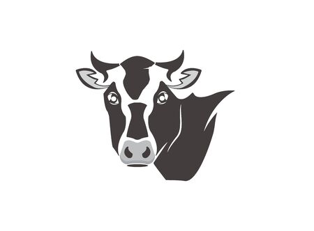 cow head dairy for design illustration vector on white background