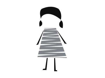 cute toy girl with hands and legs wear lines for  design illustration vector on white background Stock Illustratie