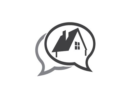 A small green home symbol with window and chimney for design illustration in a chat shape icon on white background
