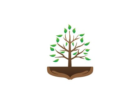 tree and hands with branches and leaves in the soil for design illustration vector on white background