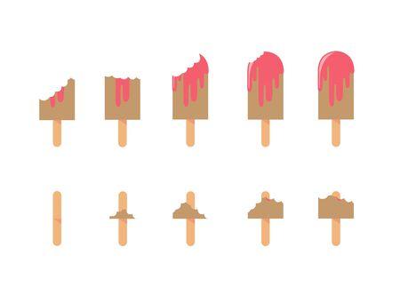 eating icecream strrawberry set for design illustration on white background