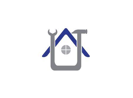 Home service hammer tool, house maintenance for design illustration on white background