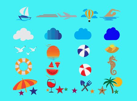 Summer set icons and flying seagulls in the sea and sun for design illustration on white background