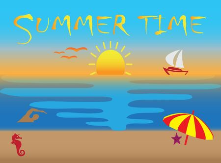 Summer time icons, sunset and flying seagulls in the beach for design illustration on white background