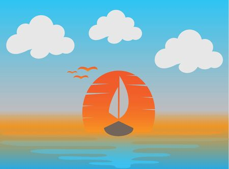 Sunset and a boat with flying seagulls in the sea for design illustration on white background