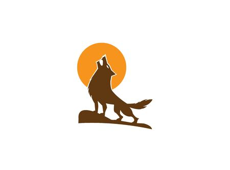 wolf howling on the top mountain and moon for  illustration design on white background