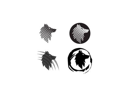 Wolf head in a circle effect and claws for  illustration design on white background Stock Illustratie
