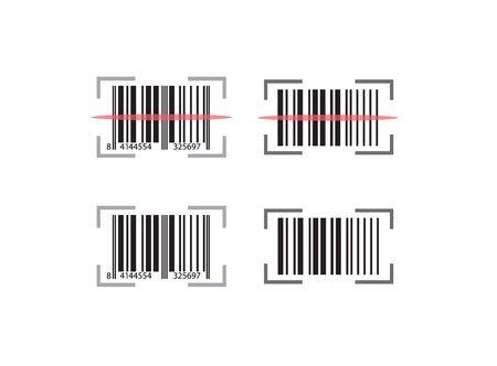 Codabar set with scan line effect design for illustration on white background