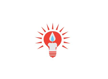 candle in the bulb for design illustration on white background